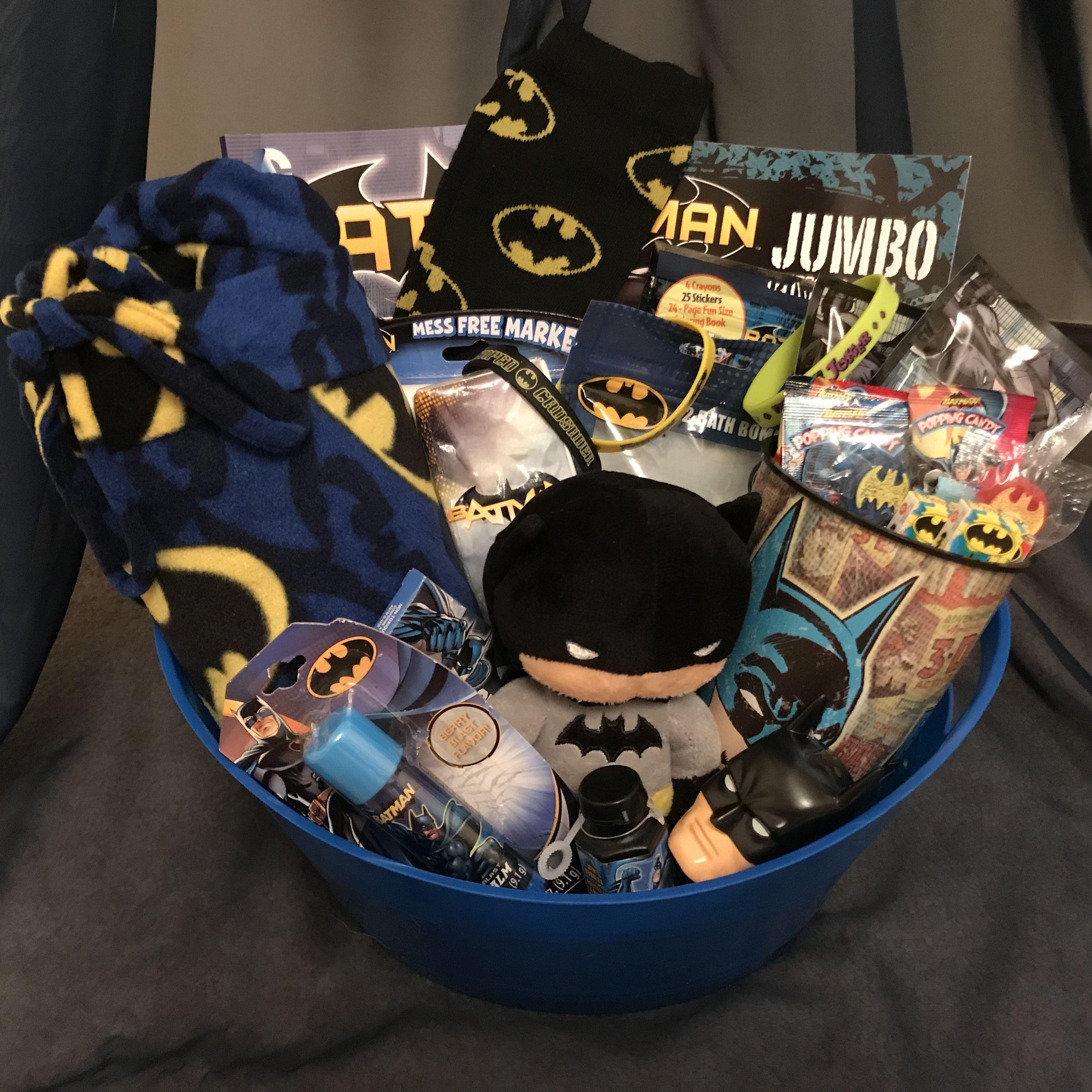 Batman Gift Basket | Batman gifts, Kids gift baskets, Themed gift ...