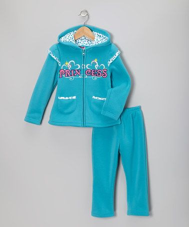 Take a look at this Blue 'Princess' Zip-Up Hoodie & Pants - Toddler & Girls by Unik on #zulily today!