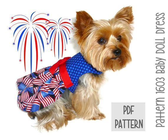 Patriotic Dog Dress Sewing Pattern 1603 Baby Doll Dog Dress Dog
