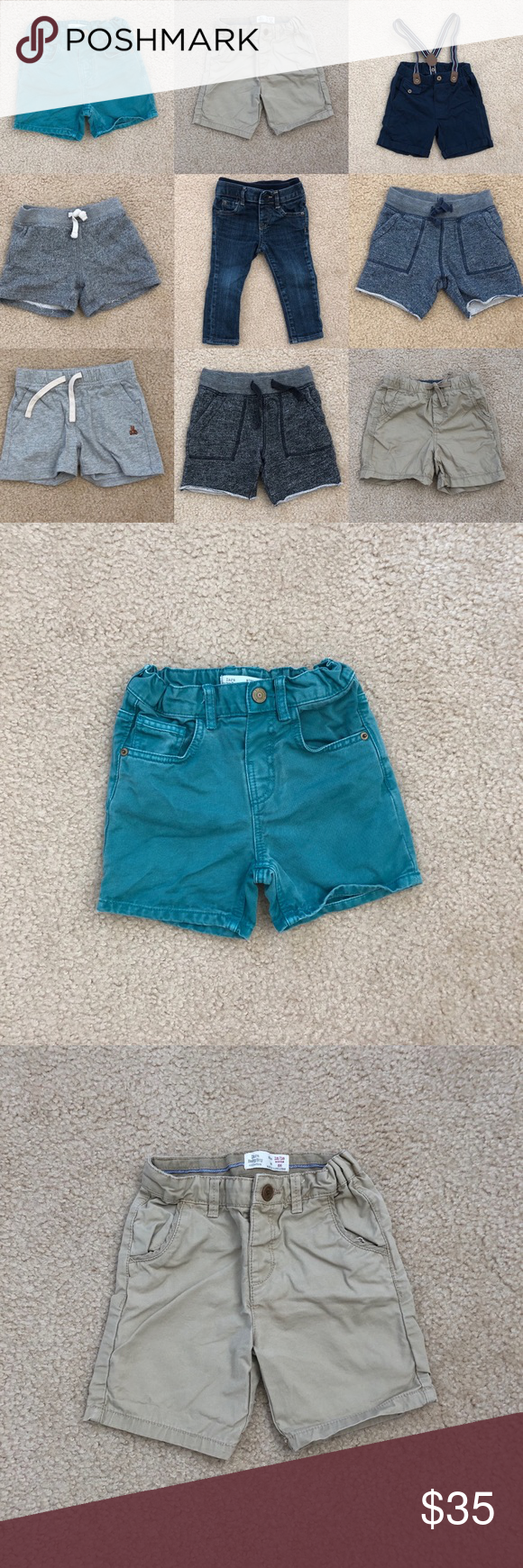 9pc baby boy bottom lot 9pc lot of baby boy bottoms.   First row: Zara, Zara, H&M (shorts w/ suspenders, worn once) Second & Third row: All Baby Gap Denim jeans are skinny fit (my fave pair!)  Comes from a smoke & pet-free home.  All items are in VGUC. No rips or stains. Zara Bottoms Shorts #wfaves