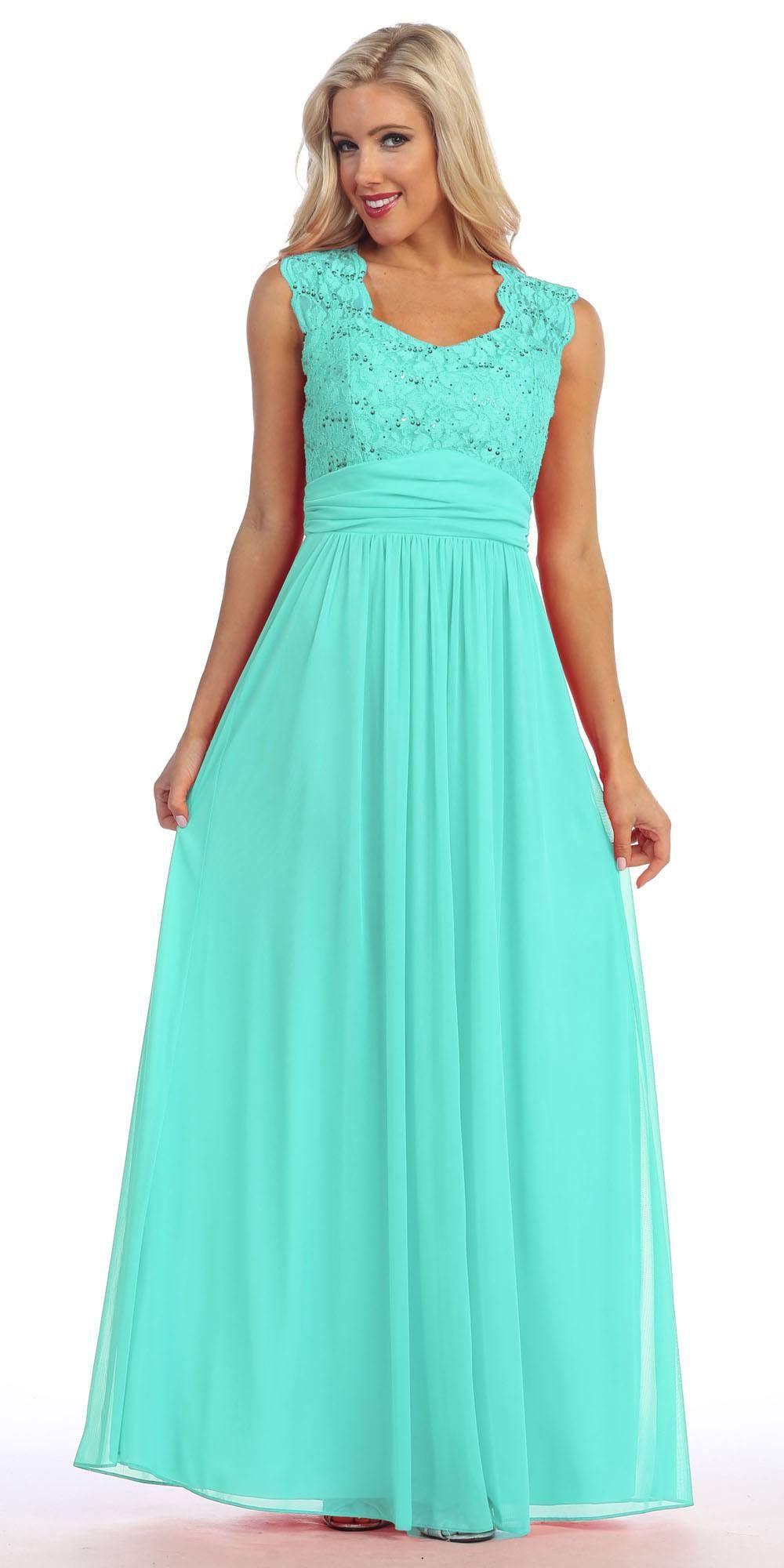Ivory Lace Bodice A-Line Long Semi Formal Dress Queen Anne Neckline ...
