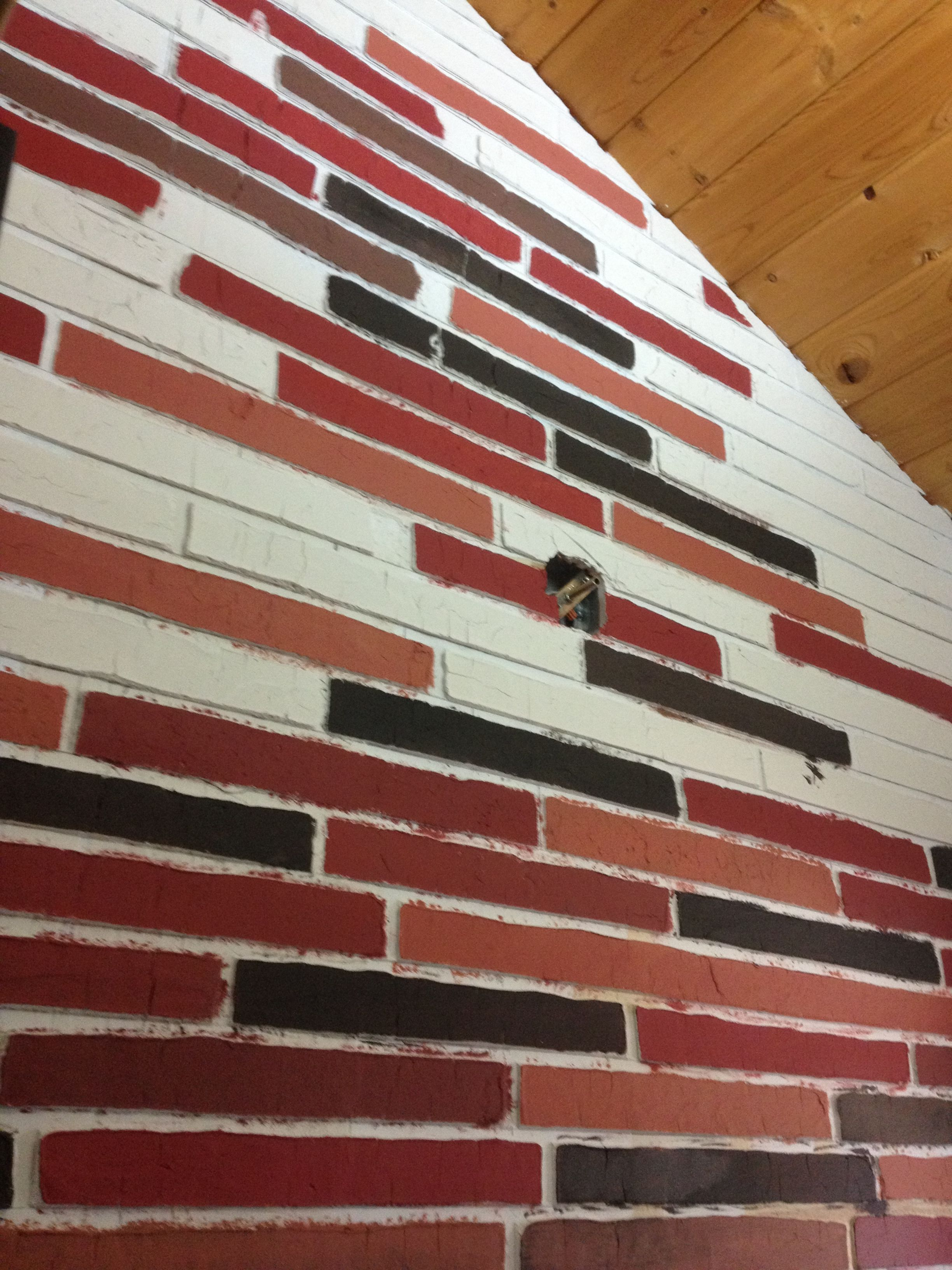 Create Your Own Faux Brick Using Dry Wall Joint Compound Tape The Joints Before Spreading The Joint Compound Then Pull Tape Very Soon Faux Brick Decor Drywall