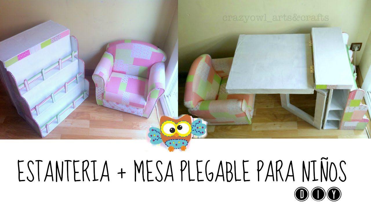 DIY ✿ Manualidades en cartón: Estanteria + mesa plegable para niños ...