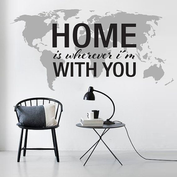 Home is wherever im with you world map decal large world map home is wherever im with you world map decal large world map vinyl wall sciox Gallery