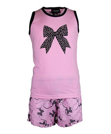 Take a look at this Pink Bow Short Pajama Set - Girls by Sovereign Sleepwear on #zulily today!