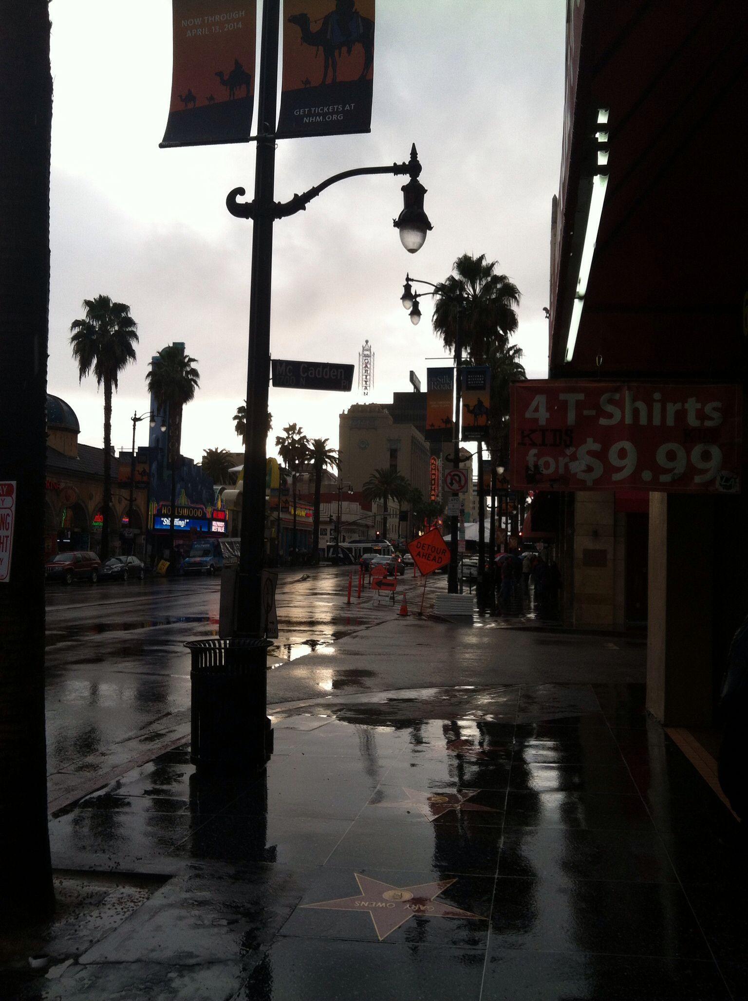 Hollywood on a rare rainy day oscar weekend