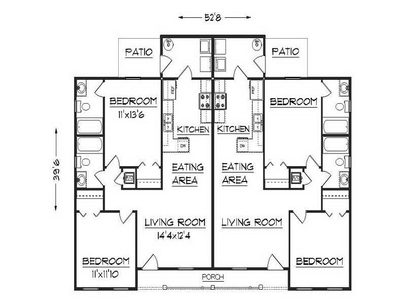 One Story Duplex Floor Plans Google Search Duplex Floor Plans Duplex Plans Small House Blueprints