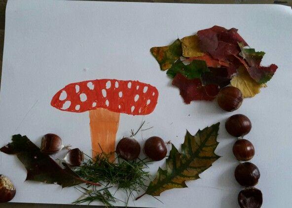 Zelf tekenen / plakken met echte bladeren