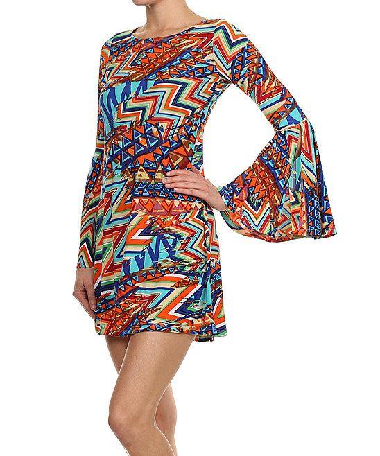 Orange Zigzag Bell-Sleeve A-Line Dress