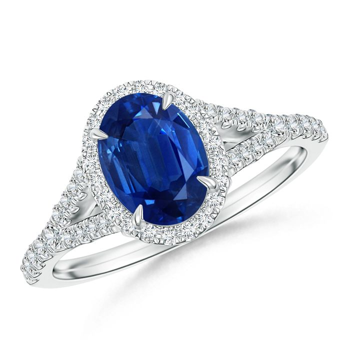 Angara Prong Set Round Blue Sapphire and Diamond 3-Stone Ring in Yellow Gold
