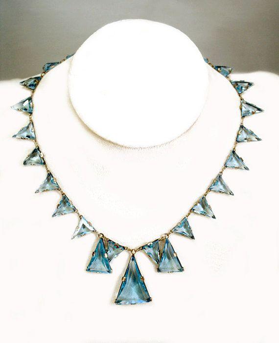 1930s Czech glass necklace Art Deco jewelry blue sterling silver