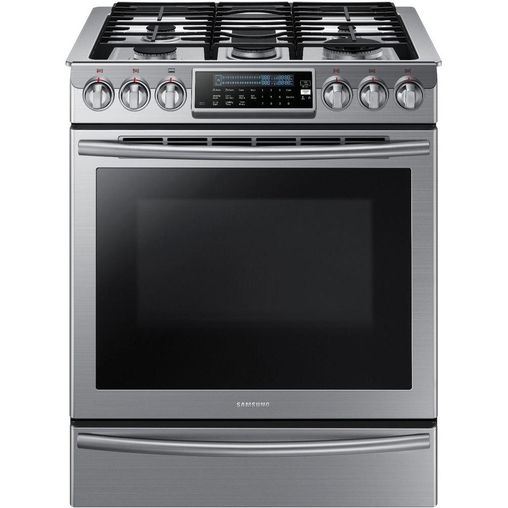 Samsung 30 In 5 8 Cu Ft Slide In Gas Range With Self Cleaning Convection Oven In Stainless Steel Nx58h950 Slide In Range Samsung Appliances Convection Range