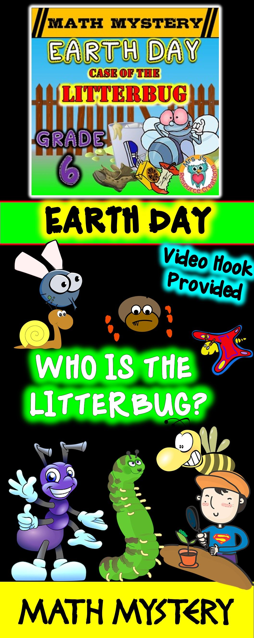 Earth Day Activity Case of the Litterbug Grade 6 Earth Day Math