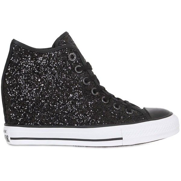 9f7443bbca7 Converse Women 80mm All Star Mid Lux Glittered Sneakers (540 ILS) ❤ liked  on Polyvore featuring shoes