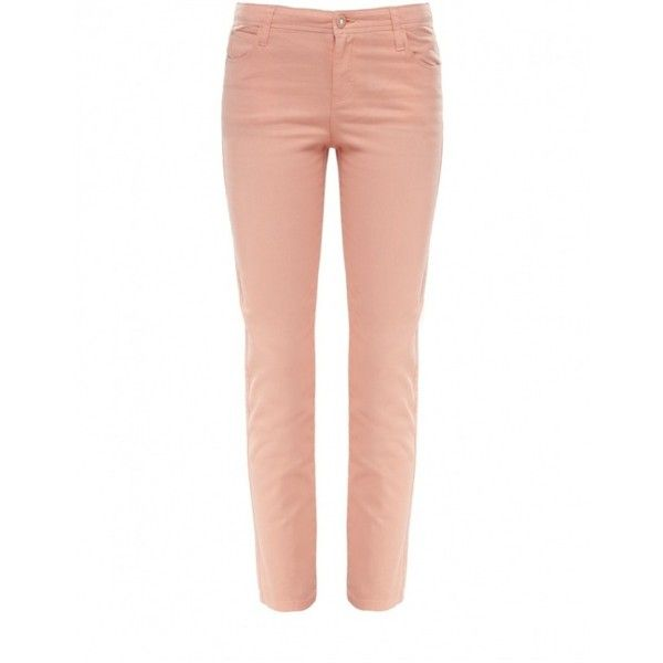 Armani Jeans Cropped Jeans ($69) ❤ liked on Polyvore featuring jeans, peach, studded skinny jeans, zipper skinny jeans, red skinny leg jeans, cropped jeans and diamante jeans