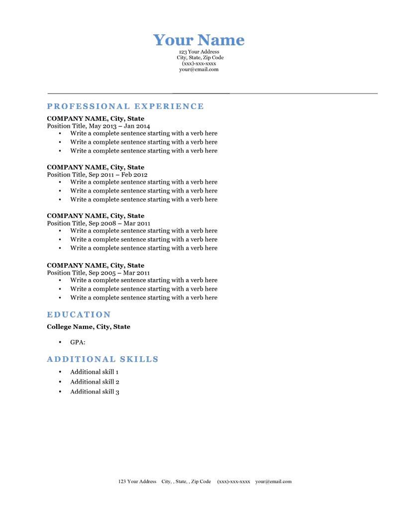 Classic Blue Microsoft Word Free Downloadable Resume Template