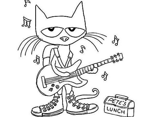 Pete The Cat Plays Guitar Coloring Page Pete The Cat Cat Coloring Page Cute Coloring Pages