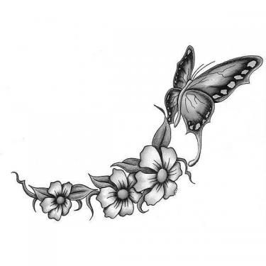 Black And White Butterfly And Flowers Tattoo Design Butterfly