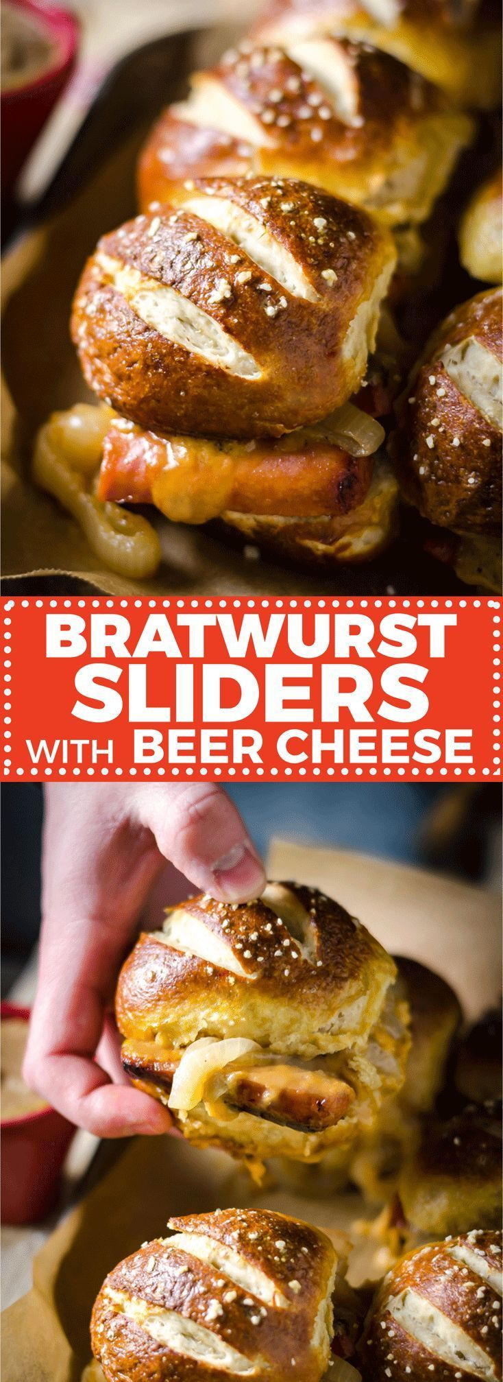 Sliders with Beer Cheese and Beer Braised Onions Bratwurst Sliders with Beer Cheese and Beer Braised Onions. These loaded sliders are served on pretzel buns and are perfect for parties or football season! | Bratwurst Sliders with Beer Cheese and Beer Braised Onions. These loaded sliders are served on pretzel buns and are perfect for parties or fo...