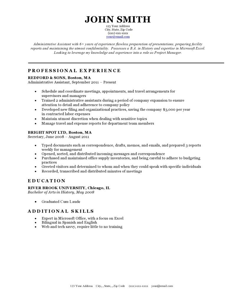 Resume Template BW Classic  Jogal    Interiors
