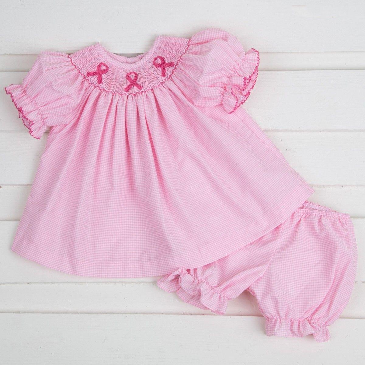5e56f86fb Pink Ribbon Smocked Bloomer Set Pink Gingham