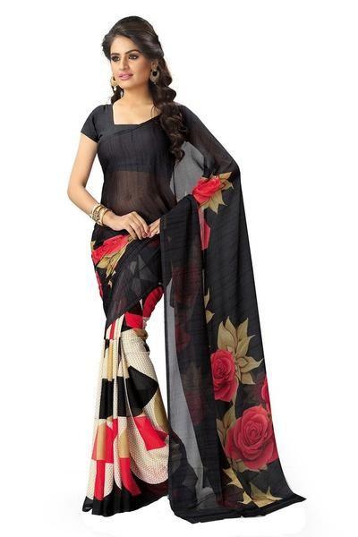 a94be6e1e1 Chiffon Printed Saree - Designer Casual Sarees   Costumess   Casual ...
