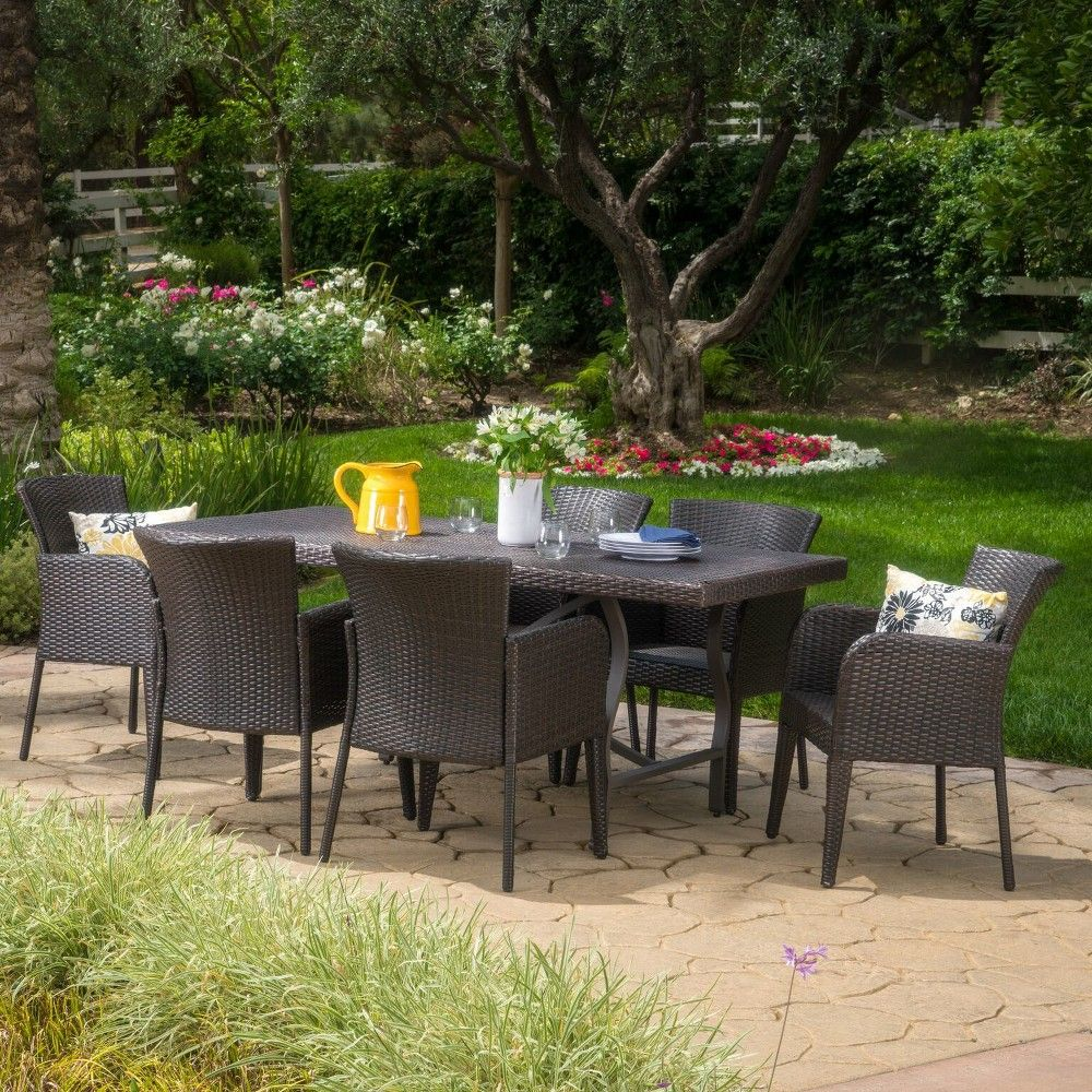 Costa Mesa 7pc Wicker And Aluminum Dining Set Brown