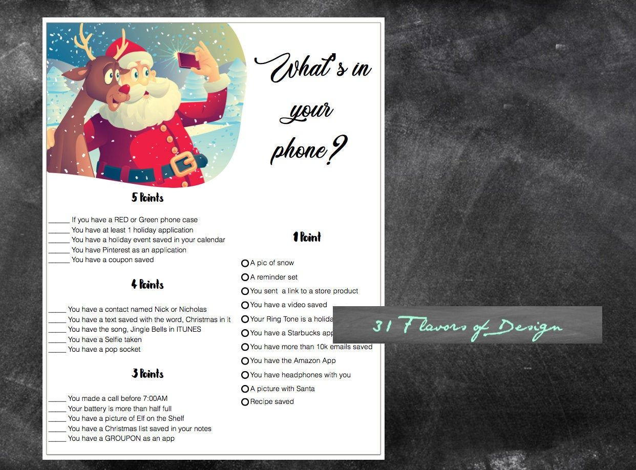 Whats in your phone, Christmas Party Game, Santa Selfie