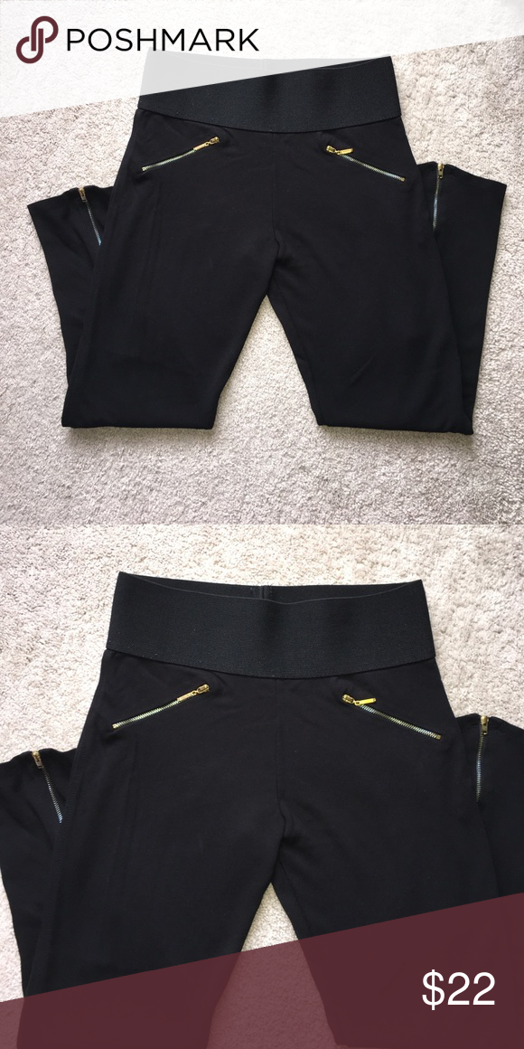 7858300f4ed1d High waisted ZARA leggings SO FLATTERING! High waisted Zara leggings with gold  zipper detail on the hips and back of the calves. Can fit a Large or XL!