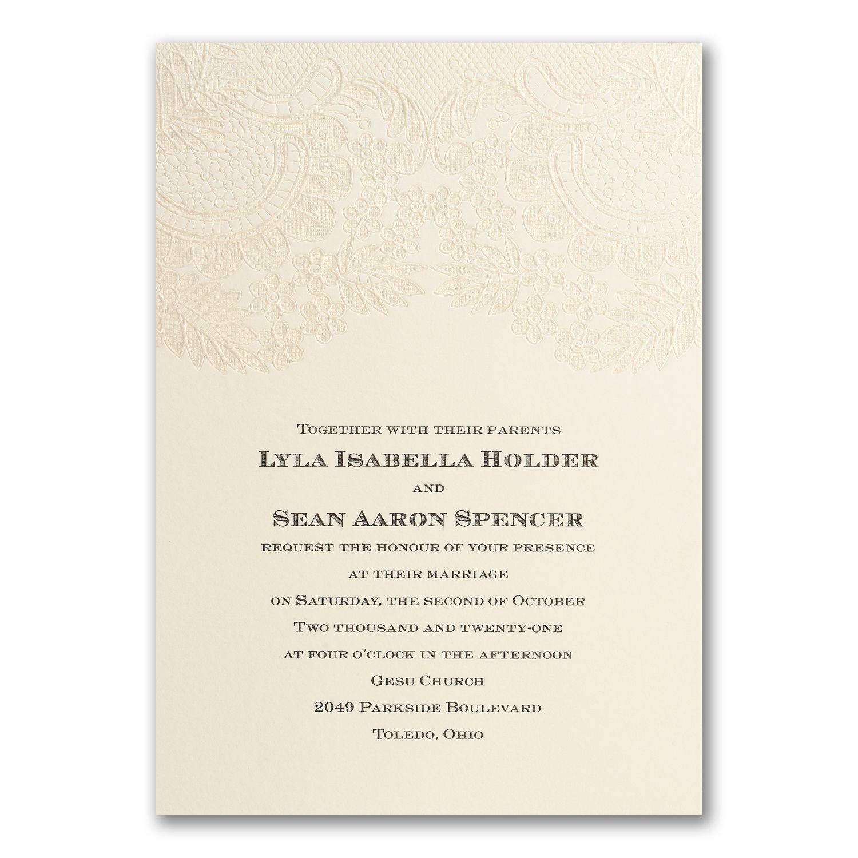 Sparkly Lace - ivory Invitation Wedding invitation that is semi ...
