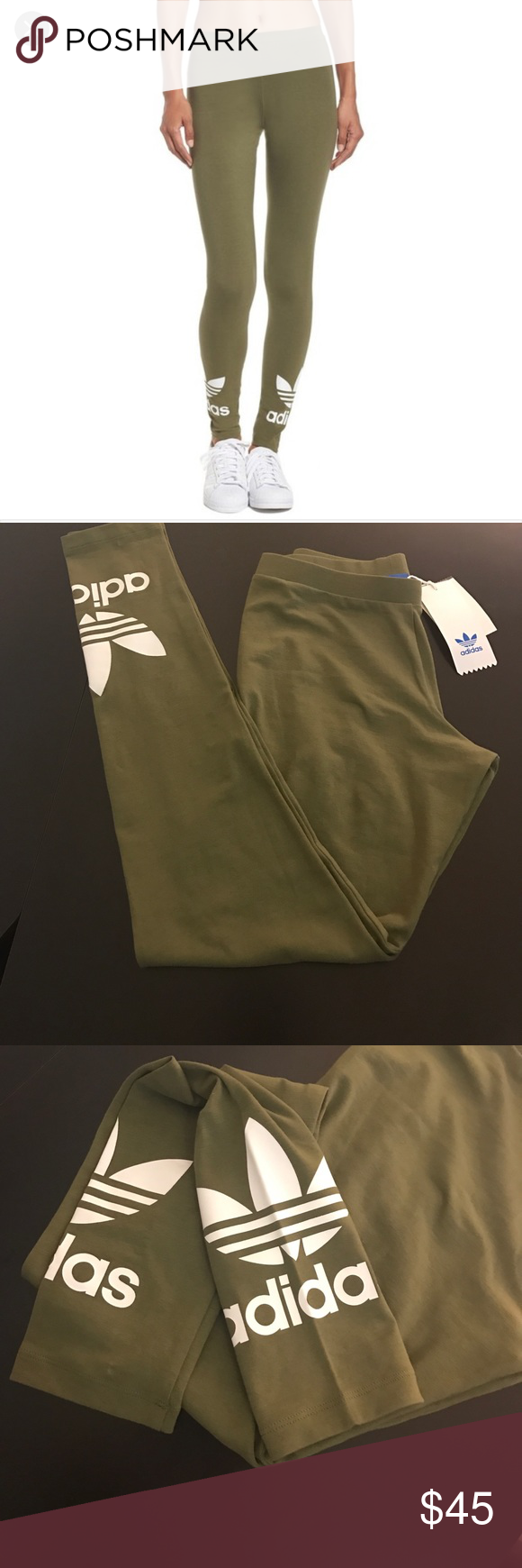 b7d40434d7e9f adidas trefoil leggings Adidas trefoil leggings new with tags size xs color olive  green. NO TRADES adidas Pants Leggings