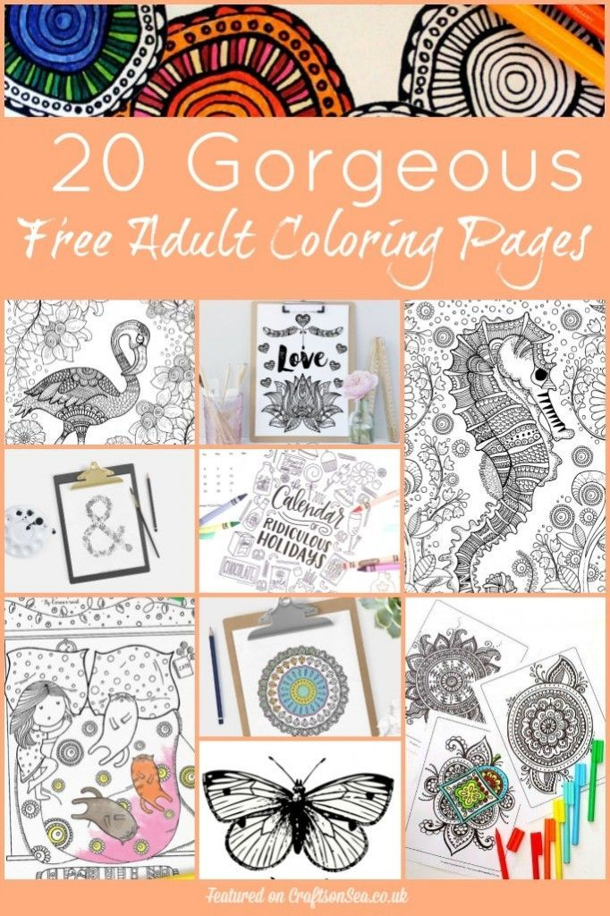 20 Gorgeous free adult coloring pages. Beautiful relaxing designs, click here to download them all.