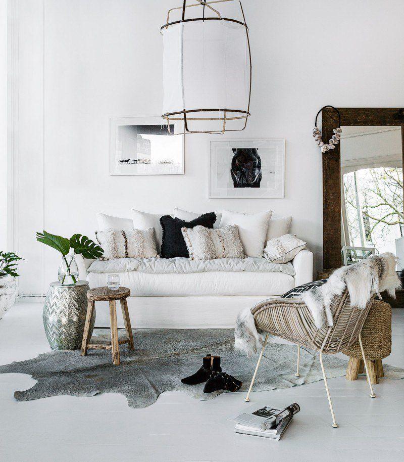 Les intérieurs bohème chic salon blanc: inspiration style Bohème ...