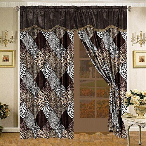 Fancy Collection 2panel Curtain Set Safari Brown White Black ...