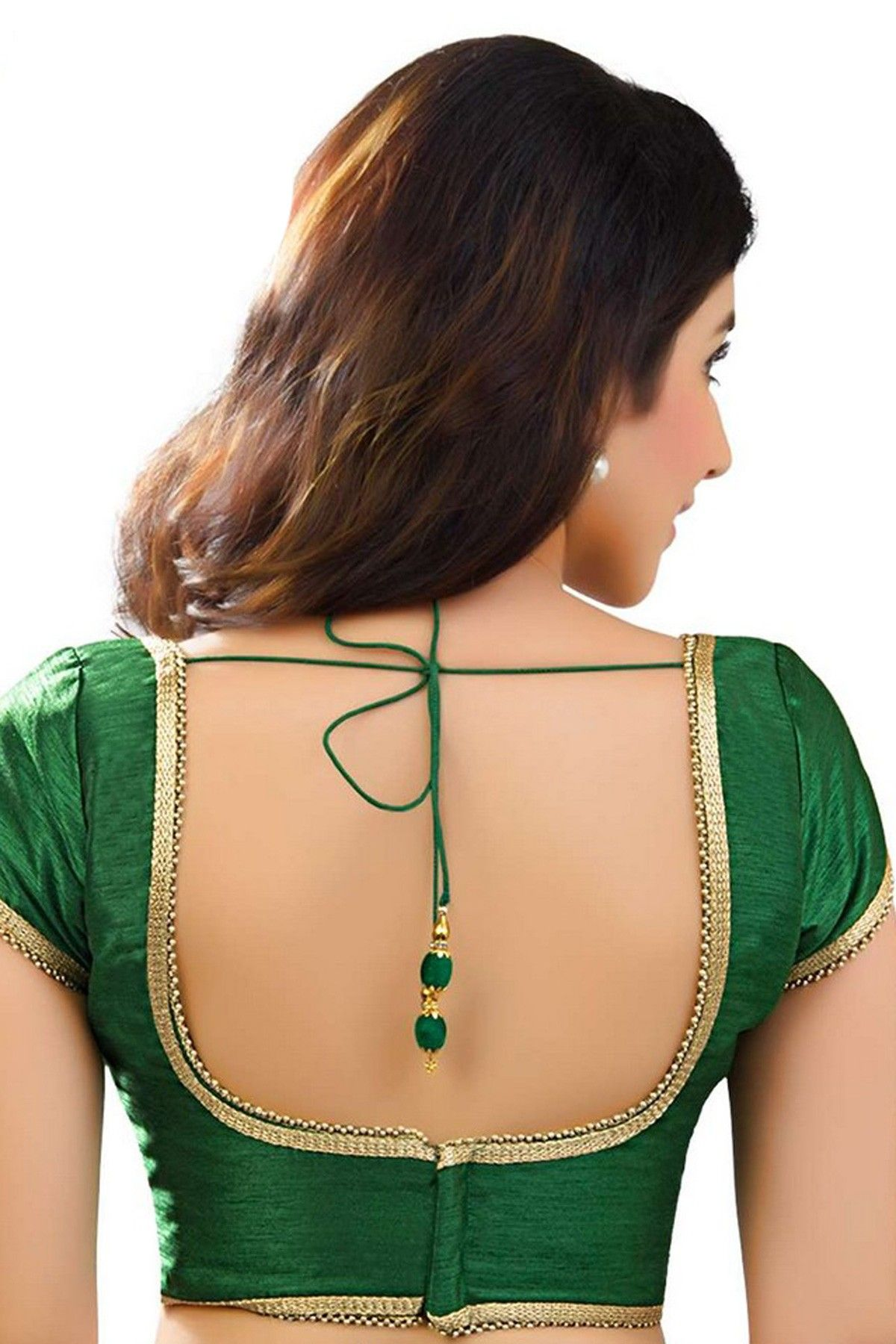 ef2f1b5097ee6 Dark  green designer raw  silk  blouse with back deep u neck -BL748 ...
