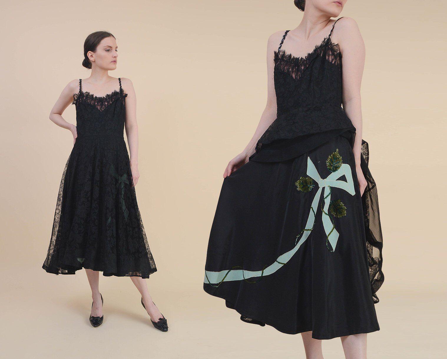 Vintage Black Lace Dress Size Medium Sequin Bow Applique Etsy Vintage Black Lace Dress Prom Dresses Vintage Dresses [ 1218 x 1518 Pixel ]