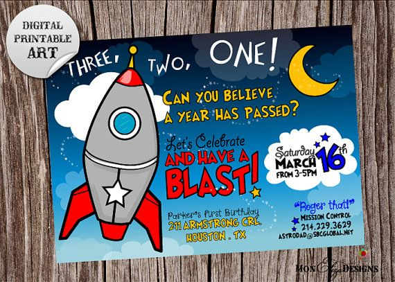 Space Cadet Rocket Theme First Birthday Party by MonElizaDesigns – Space Party Invitations