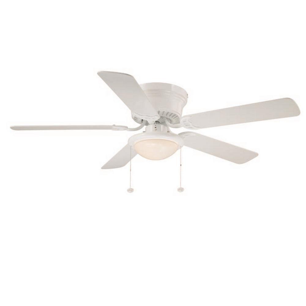 Null hugger in led indoor white ceiling fan with light kit