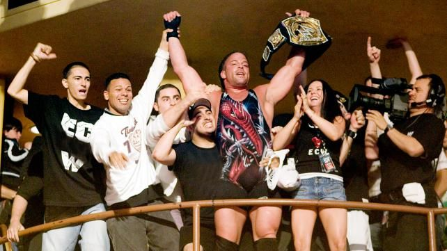 Rob Van Dam celebrates his WWE/ECW Championship win with his wife and the ECW faithful in the Hammerstein Ballroom in NYC @ ECW One Night Stand 2006