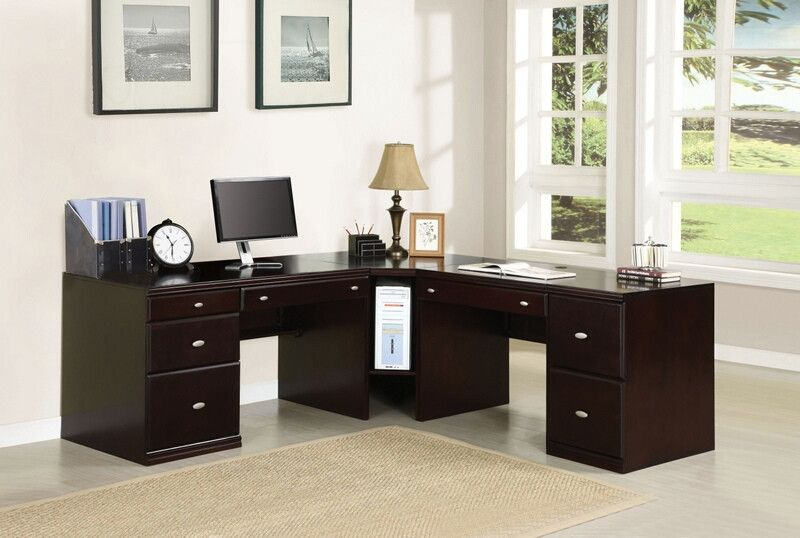 Acme 92031 33 34 35 Cape Espresso Finish Wood L Shaped Desk Set Desk Set L Shaped Desk Desk