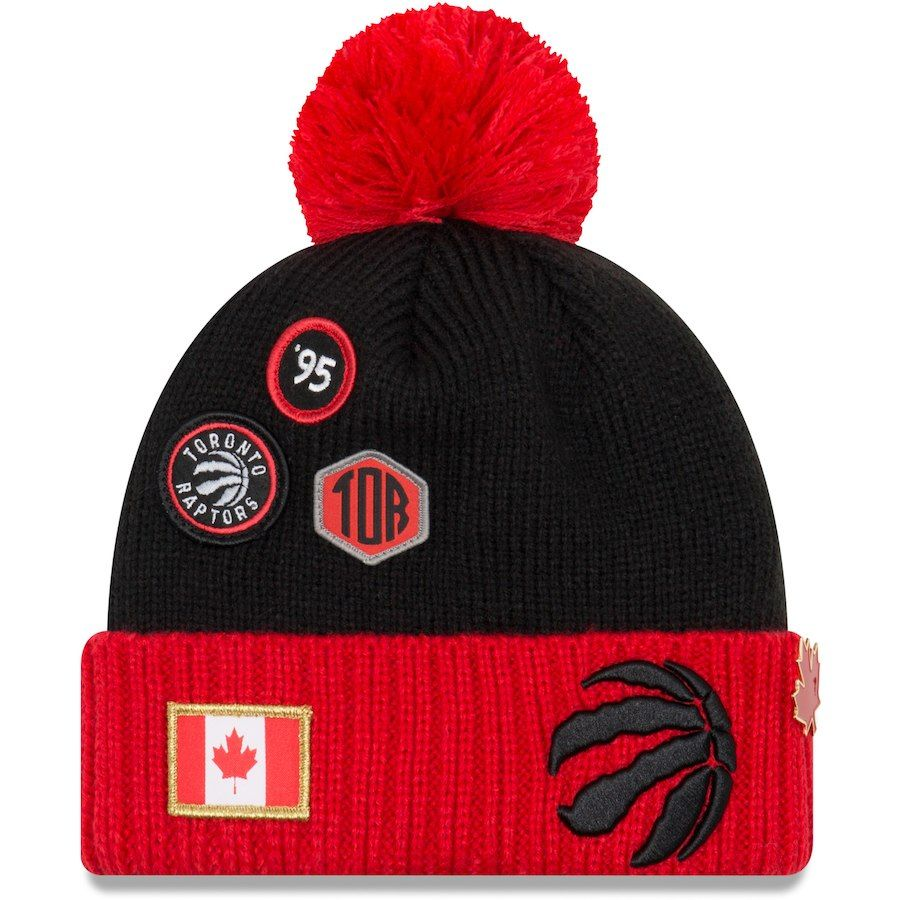 more photos 1f0ca 03a01 coupon youth toronto raptors new era black 2018 draft cuffed knit hat with  pom your price
