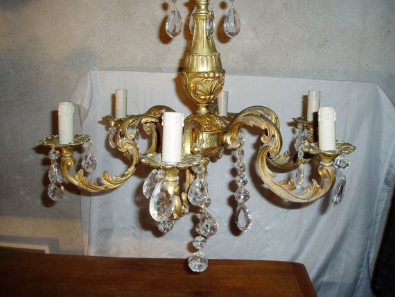 VIntage French Brass Chandelier. Crystals by frenchvintagetherapy, $150.00