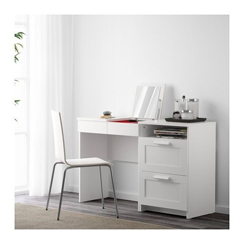 BRIMNES Toaletni sto s fiokarom, 2 fioke IKEA Ugra u0111eno ogledalo sa skrivenim mestom za odlaganje