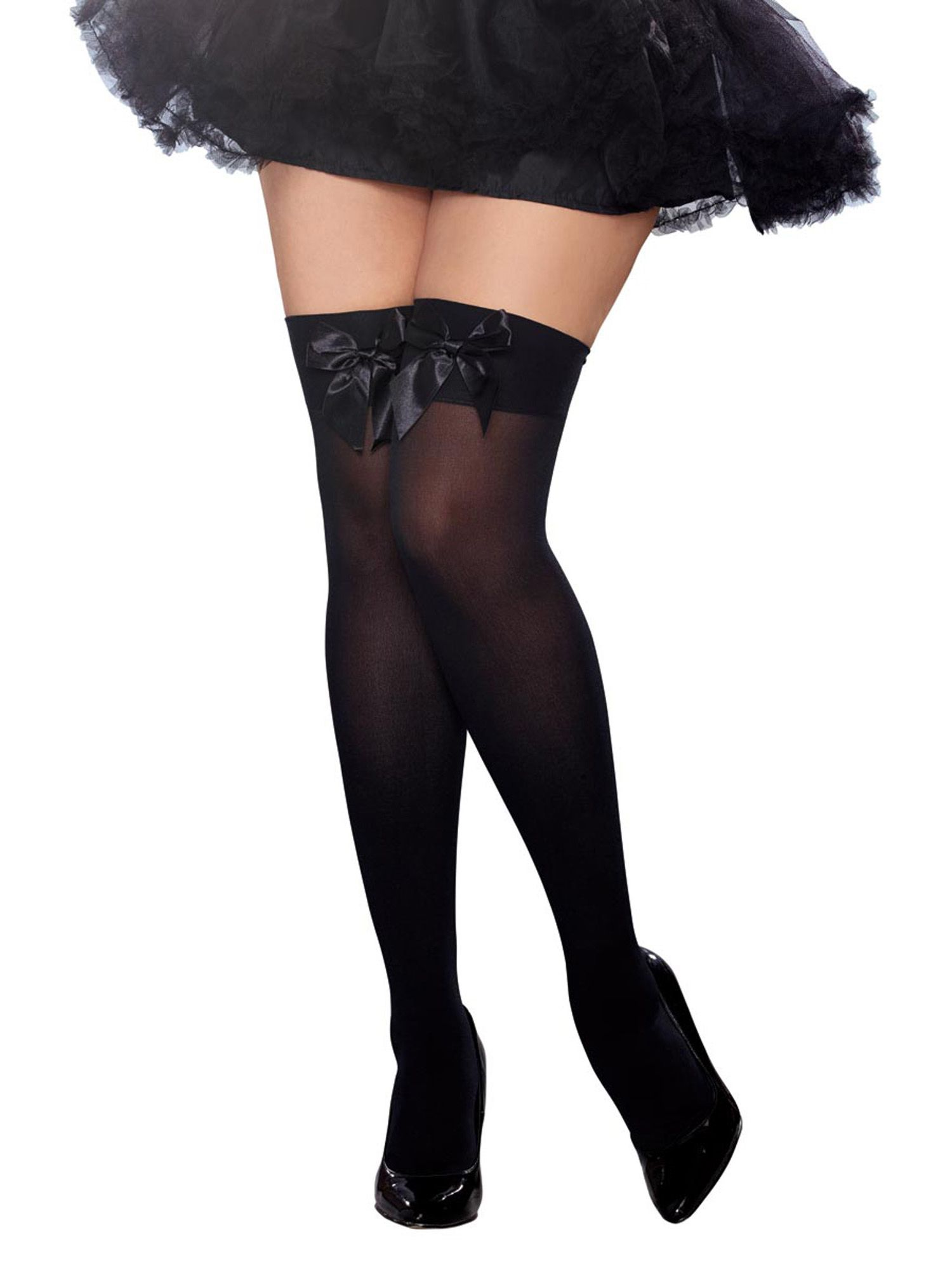 bfacf3d144c57 Womens Plus Size Satin Bow Opaque Thigh High Stockings With Bow Hosiery #Satin#Bow#Womens