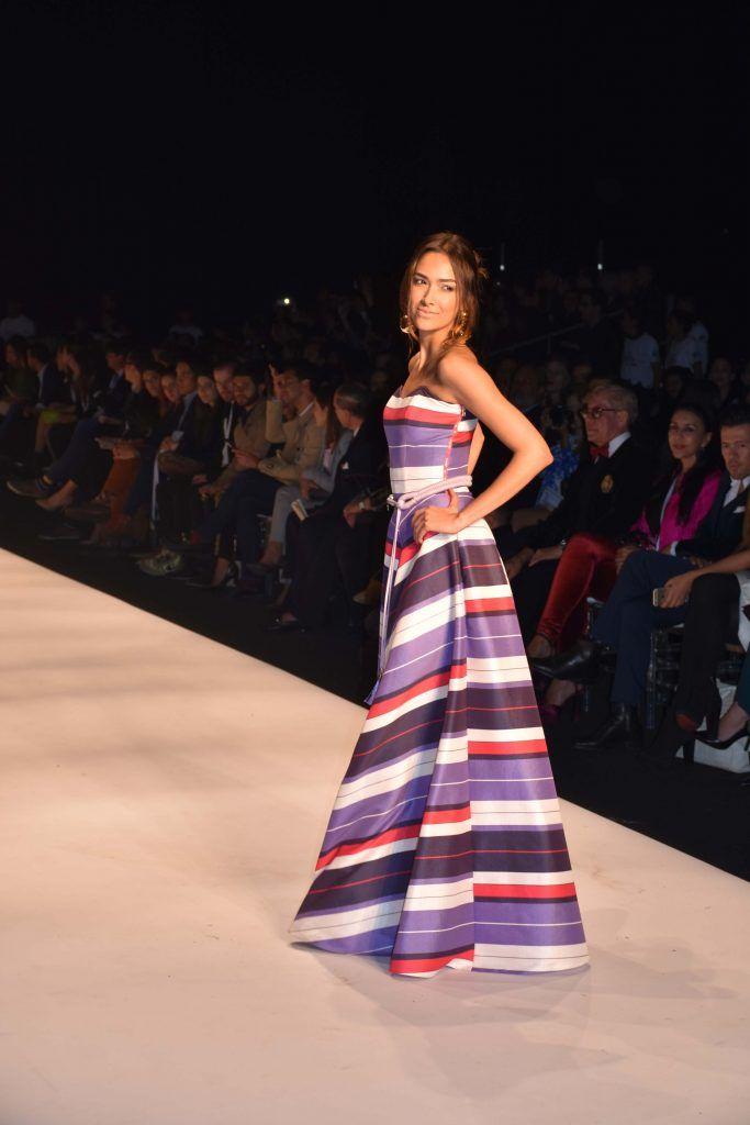 Vestido  de rayas Colección Juan Pablo Socarrás