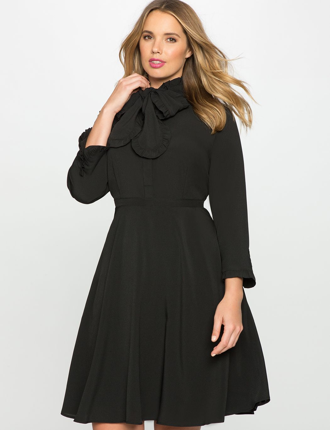 Bow neck fit and flare shirt dress womens plus size