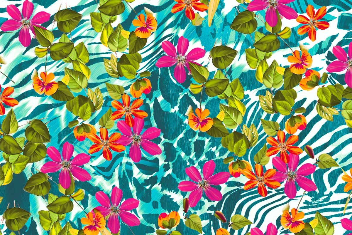 print number 6111 flower power for a happy spring Flowers, garden, colors, print lycra print and design for woman swimwear design http://annallop.com/