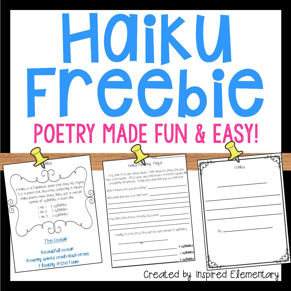 Haiku Poetry Freebie Poetry unit, Poetry lessons