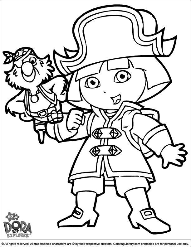 Dora the Explorer coloring page Dora dressed up like a pirate ...