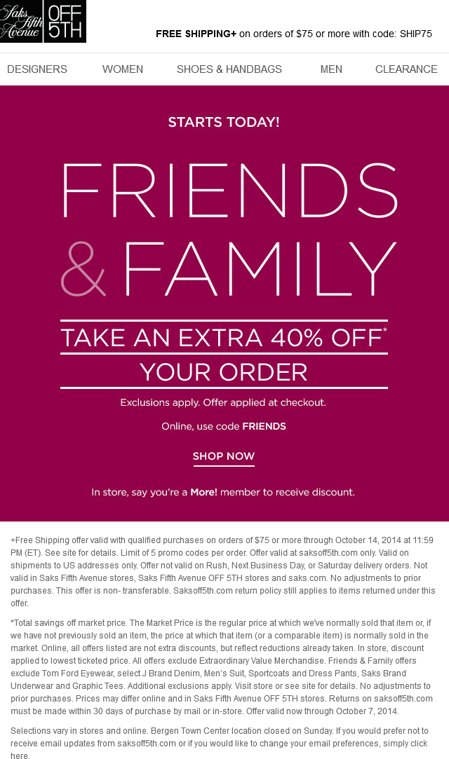 Pinned september 29th 40 off at saks fifth avenue off 5th or pinned september 29th 40 off at saks fifth avenue off 5th or online via promo code friends coupon via the coupons app fandeluxe Choice Image